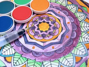 Watercolors with Mandala Coloring page