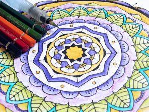 Watercolor pencils and Aquash with Mandala Coloring page