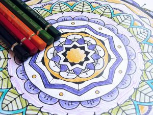 Watercolor pencils with Mandala Coloring page