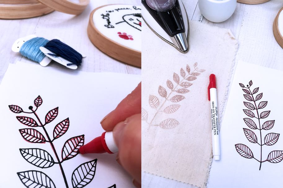 Tracing embroidery pattern