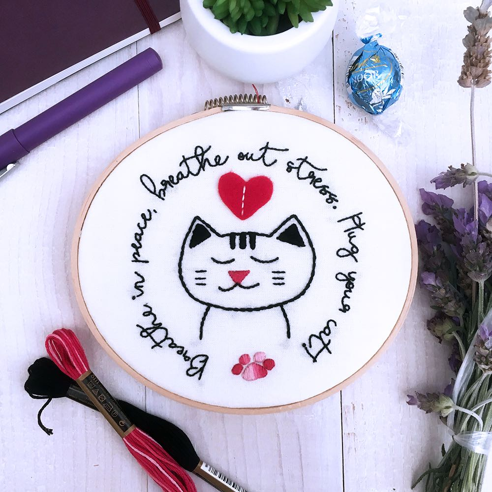 Peaceful Cat embroidery