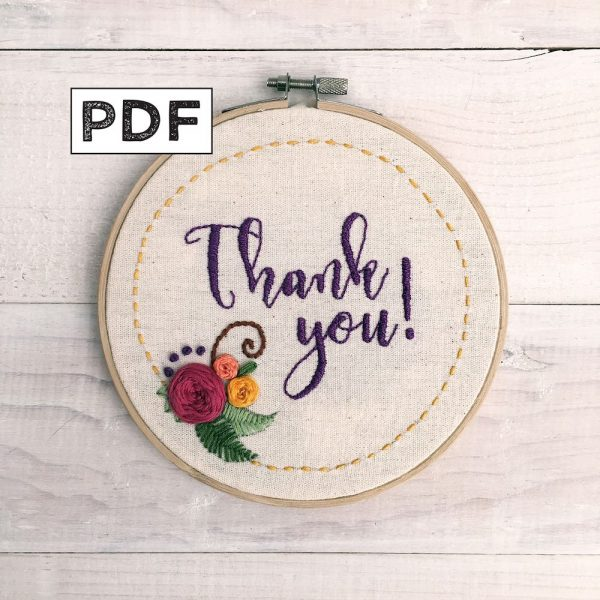 Thank You Embroidery Pattern