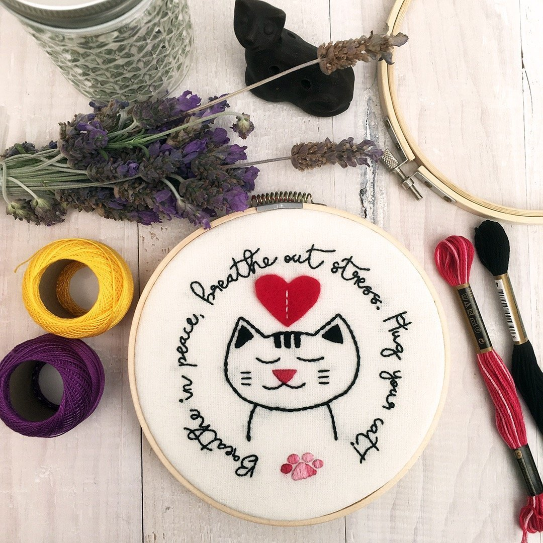 Hug Your Cat Embroidery by Cat & Raven