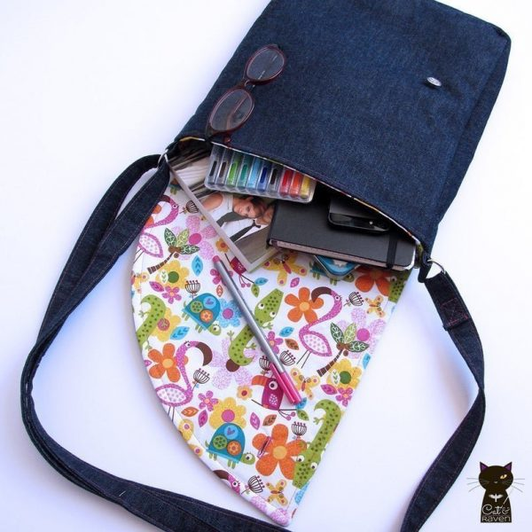 Denim Messenger Bag with adjustable strap