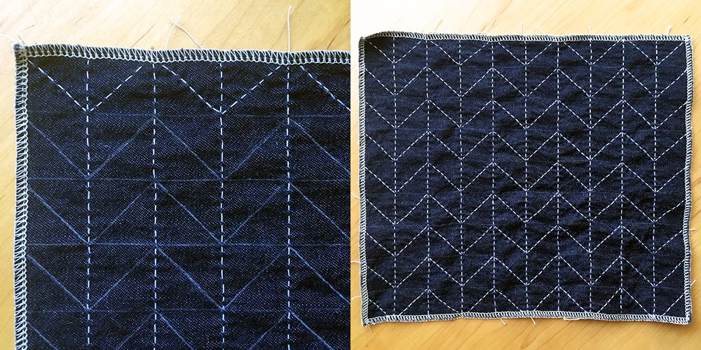 Stitch diagonal lines