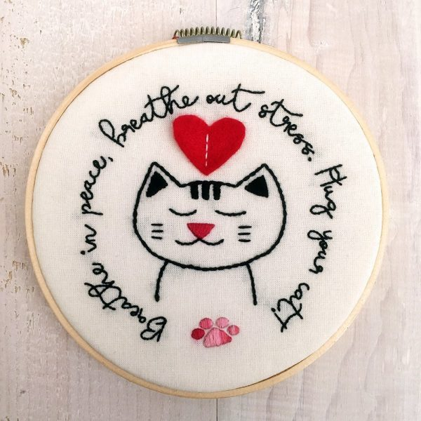 Hug Your Cat Hoop Art