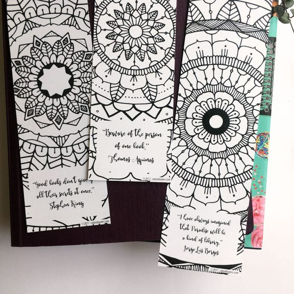 Mandala Coloring Bookmarks Close-up